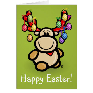 """Happy Easter"" with cute moose Elmondo Card"