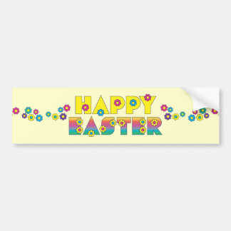 Happy Easter with Flowers Bumper Sticker