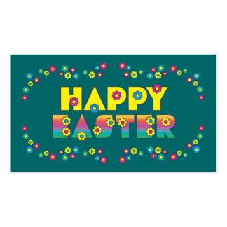 Happy Easter with Flowers Double-Sided Standard Business Cards (Pack Of 100)