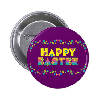 Happy Easter with Flowers Pinback Button