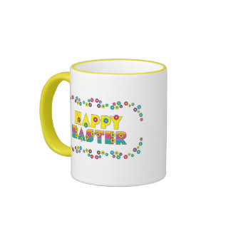 Happy Easter with Flowers Mug