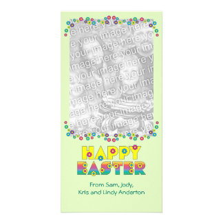 Happy Easter with Flowers Photo Card
