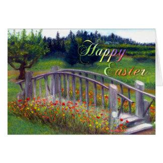 Happy Easter with Footbridge, Flowers, and Haiku Card