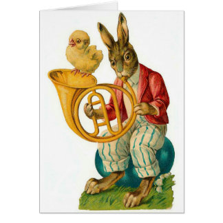 Happy Easter With French Horn Vintage Card