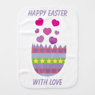 Happy Easter with Love Easter Egg Custom Baby Burp Cloth