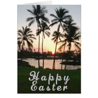 Happy Easter with Palms At Sunset Card