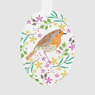 Happy Easter with robin and spring flowers