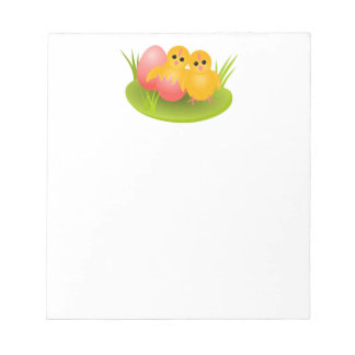 Happy Easter yellow chicks on green grass Notepad