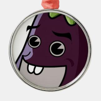 Happy Eggplant Metal Ornament