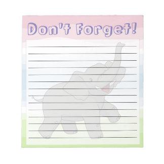 Happy Elephant Customizable Lined Notepad