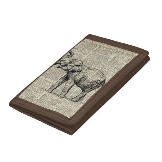Happy Elephant Over Vintage Dictionary Book Page Trifold Wallets