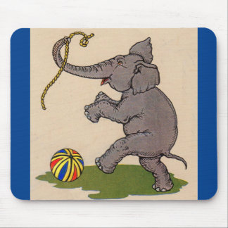 happy elephant playing with rope and ball mouse pad