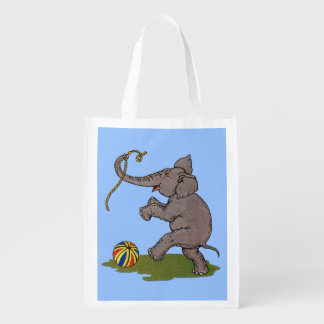 happy elephant playing with rope and ball reusable grocery bag