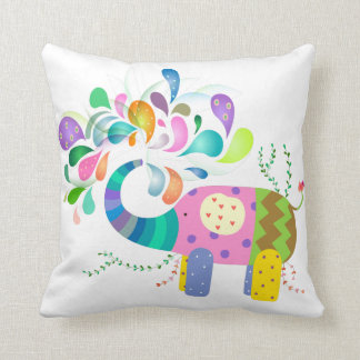 Happy Elephant Splashing Throw Pillow