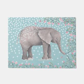 Happy Elephant- Watercolor Illustration Doormat