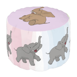 Happy Elephants Round Pouf