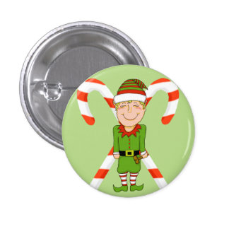 Happy Elf & Candy Cane Holiday Pin