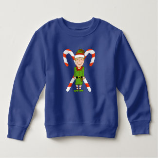 Happy Elf with Candy Cane Toddler Sweatshirt