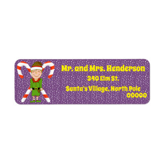 Happy Elf with Candy Return Address Labels