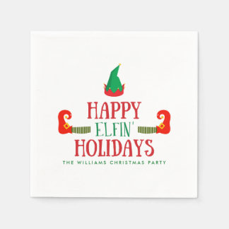 Happy Elfin Holidays Christmas Paper Napkin