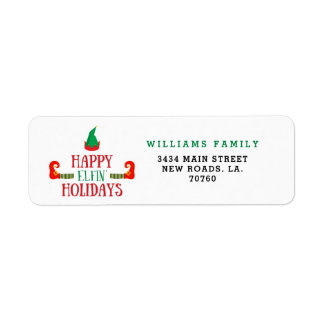 Happy Elfin Holidays Christmas Return Address Label