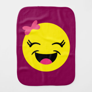 Happy Emoji Girl Burp Cloth