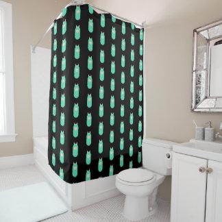 Happy Emoji Llama Black Shower Curtain