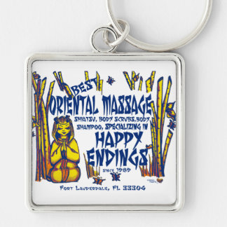 Happy Endings Silver-Colored Square Keychain