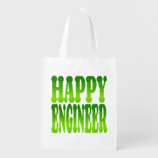 Happy Engineer in Green Reusable Grocery Bag