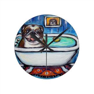 Happy English Bulldog bath Wallclock