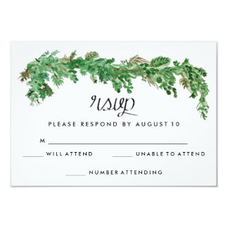 Happy Ever After Greenery Wedding Invitation RSVP