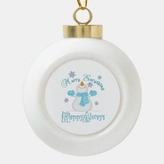 happy everything ceramic ball christmas ornament