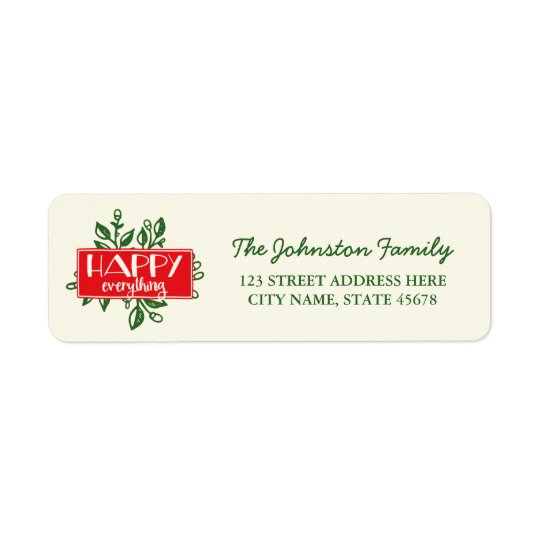 Happy Everything Holiday Return Address Labels