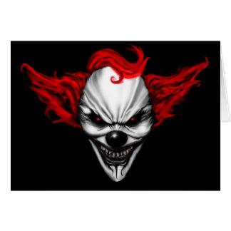 Happy Evil Clown Red Hair Greeting Card