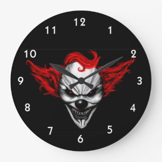 Happy Evil Clown Red Hair Large Clock