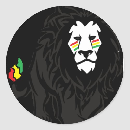 Happy facce rasta classic round sticker