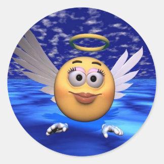 happy face angel classic round sticker