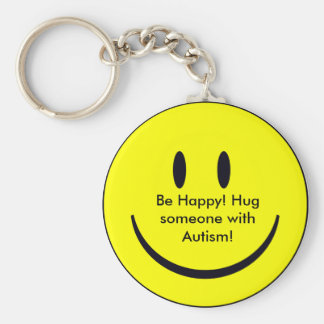 Happy Face, Be Happy! Hug someone with Autism! Basic Round Button Keychain