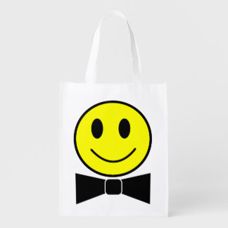 Happy Face Bow Tie Reusable Bag