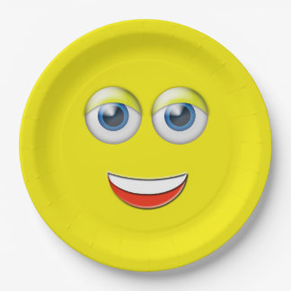 Happy Face Emoji Paper Plate