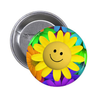 Happy face Flower Pinback Buttons