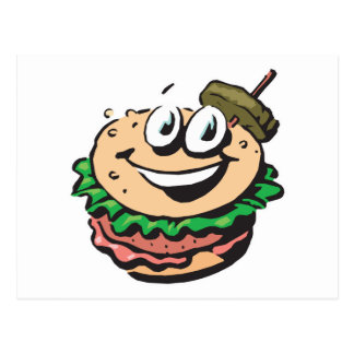 happy face hamburger post cards