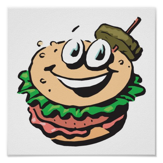 happy face hamburger poster