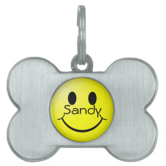 Happy Face Pet Name Tag