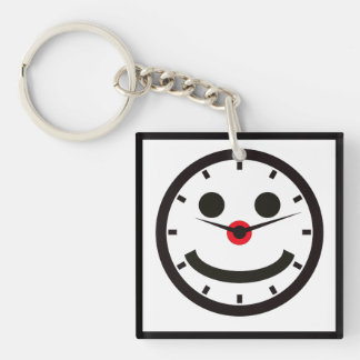 Happy Face Time - Clocked Double-Sided Square Acrylic Keychain