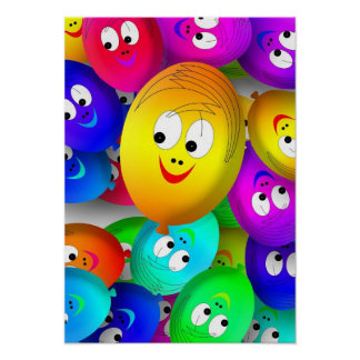 Happy Faces Balloons Poster