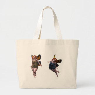 happy fairy elves large tote bag