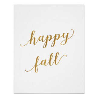 Happy Fall - Decor - Art Print - Gold