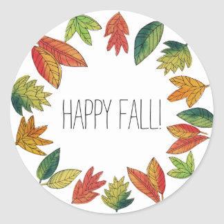 Happy Fall Foliage Classic Round Sticker