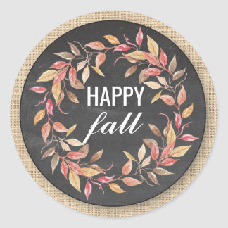 Happy Fall Harvest Festival Leaf Wreath Sticker